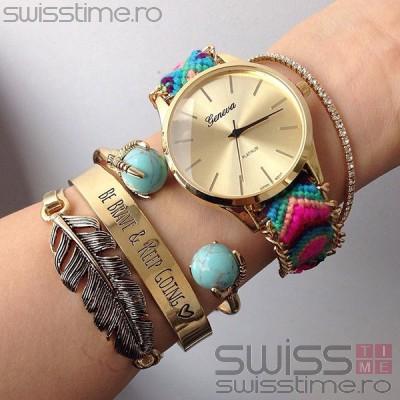 Ceas Dama Quartz Geneva Friendship Bracelet
