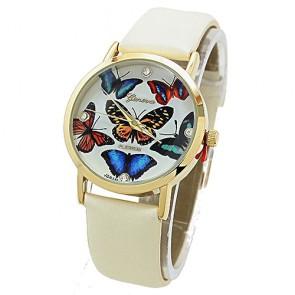 Ceas Dama Quartz Geneva Platinum Butterfly
