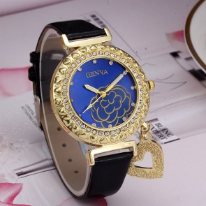 Ceas Dama Quartz Geneva Gold Flower