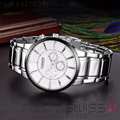Ceas Quartz Curren White Steel Invictus