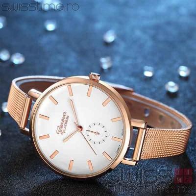 Ceas Dama Quartz Geneva Platinum Elegance