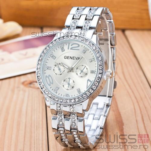 Ceas Dama Quartz Geneva Crystal Select-silver