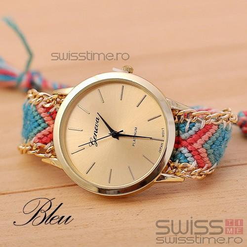 Ceas Dama Quartz Geneva Friendship Bracelet-bleu