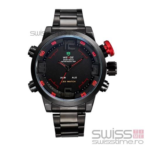 Ceas Quartz WEiDE Black Shade WH2309B-2C -rosu