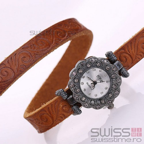 Ceas Dama Quartz Royal Genuine Leather-orange