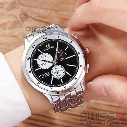 Ceas Quartz ORLANDO Timeconquest-silver-negru