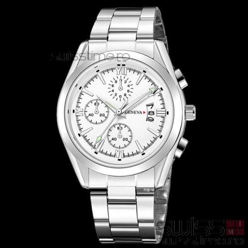 Ceas Quartz Geneva Precisionist-silver-alb
