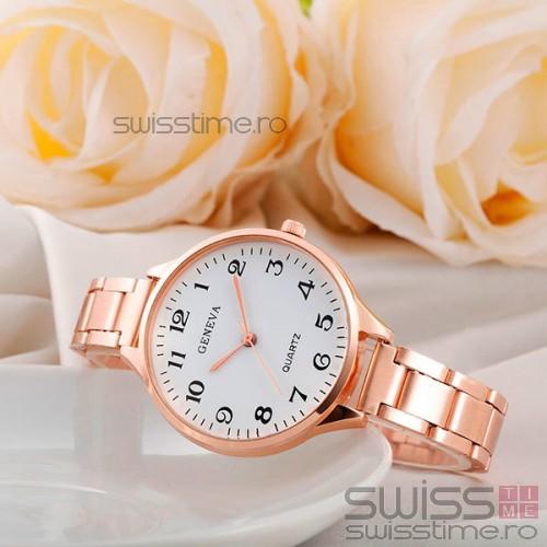 Ceas Dama Quartz Geneva Di Moda-rose gold-alb