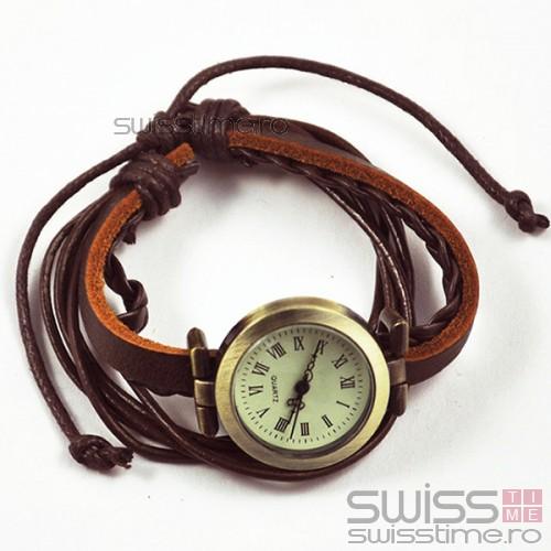 Ceas Dama Quartz Vintage Leather Strap-maro