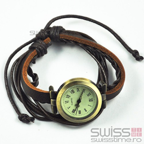 Ceas Dama Quartz Vintage Leather Strap-negru