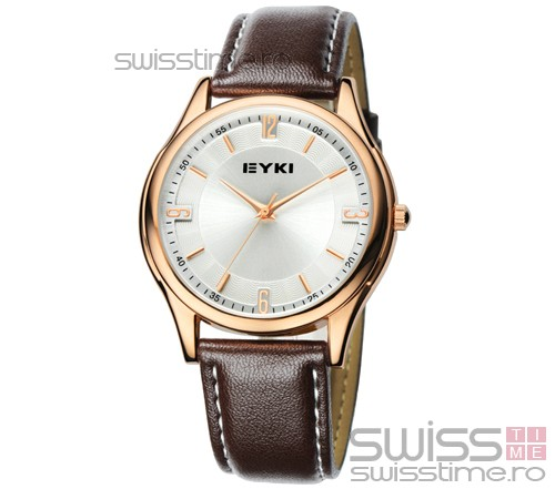 Ceas Quartz Eyki Slim Leather-maro
