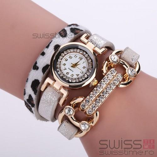 Ceas Dama Quartz Cheetah-alb