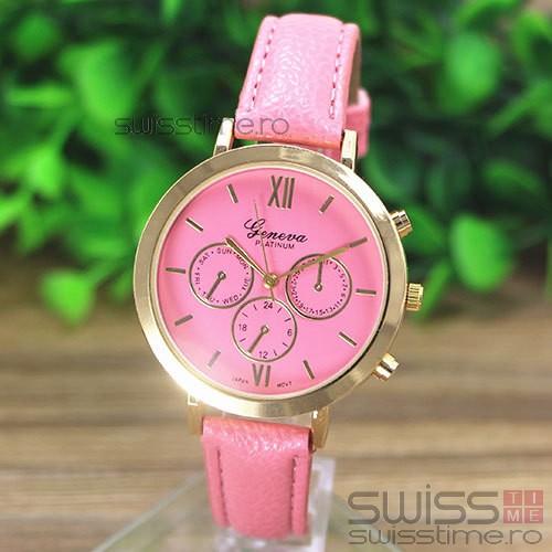 Ceas Dama Quartz Geneva Platinum Select-roz
