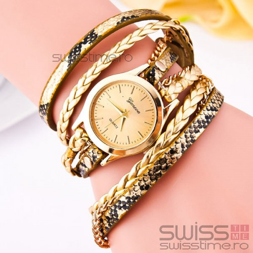Ceas Dama Quartz Geneva Exotic-gold