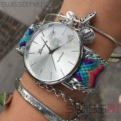 Ceas Dama Quartz Geneva Friendship Bracelet-silver - turcoaz
