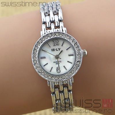Ceas Dama Quartz ELY Crystal-silver