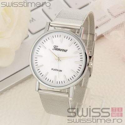 Ceas Dama Quartz Geneva Classic SilverGold-silver