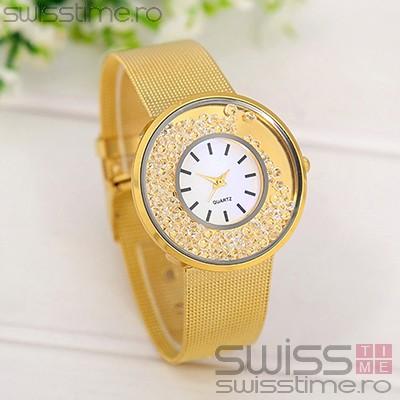 Ceas Dama Quartz Diamond Rain-gold