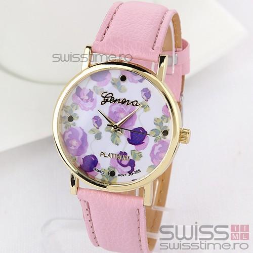 Ceas Dama Quartz Geneva Bouquet-roz