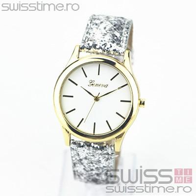 Ceas Dama Quartz Geneva Confetti Glitter-silver