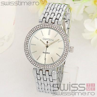 Ceas Dama Quartz Geneva Contena Crystal-silver