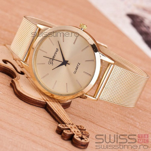 Ceas Dama Quartz Geneva Golden Silk