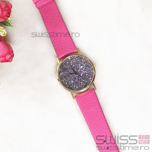 Ceas Dama Quartz Platinum Confetti-roz