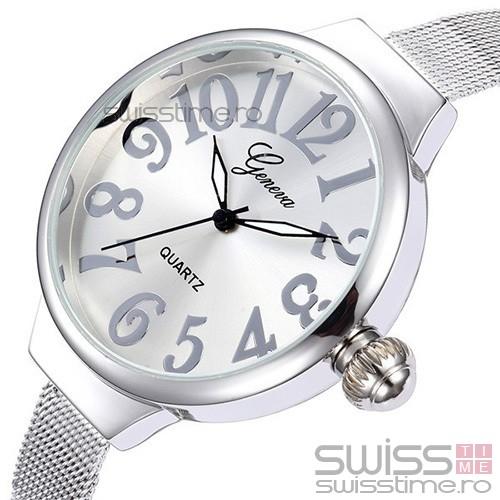 Ceas Dama Quartz Geneva Big Fancy-silver
