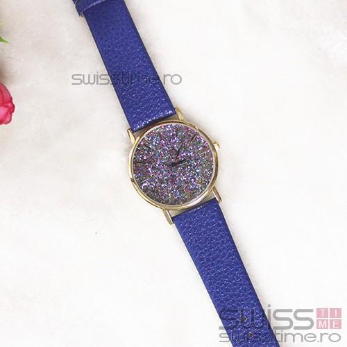 Ceas Dama Quartz Platinum Confetti-albastru