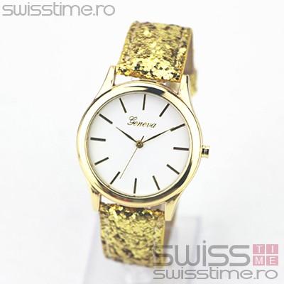 Ceas Dama Quartz Geneva Confetti Glitter-gold