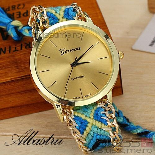Ceas Dama Quartz Geneva Friendship Bracelet-albastru