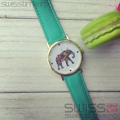 Ceas Dama Quartz Little Lucky Elephant-verde mint