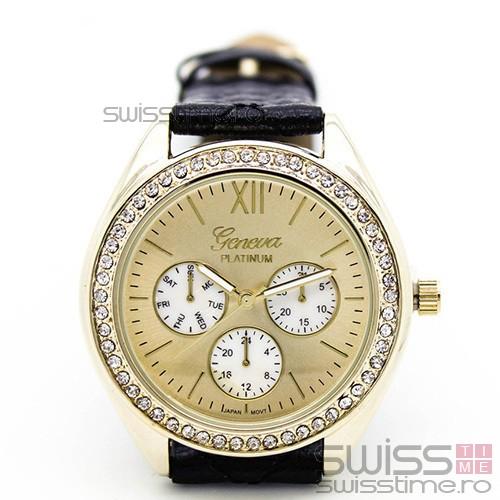 Ceas Dama Quartz Geneva Platinum Black Edition-negru