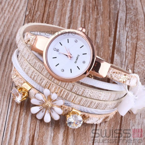 Ceas Dama Quartz Flower-alb