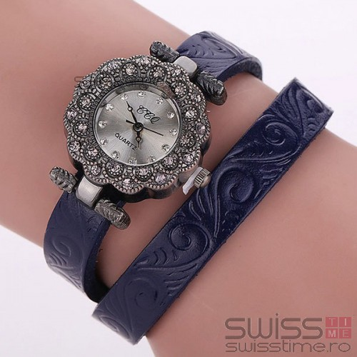 Ceas Dama Quartz Royal Genuine Leather-albastru