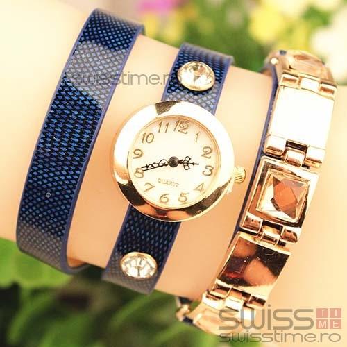 Ceas Dama Quartz Vintage Luxury-albastru