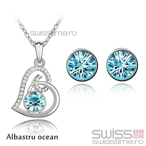 Set Crystallized Heart-Albastru ocean