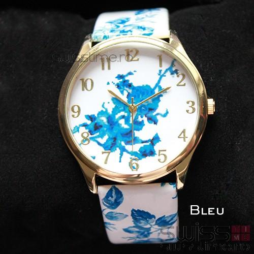 Ceas Dama Quartz Geneva Floral-bleu