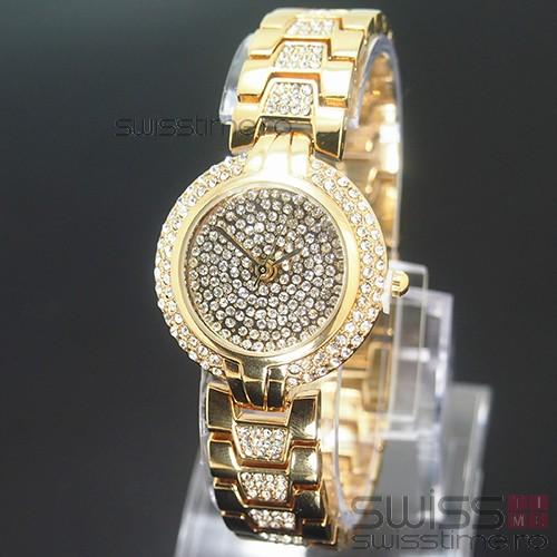 Ceas Dama Quartz Geneva Crystal Luxury -gold