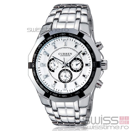 Ceas Quartz Curren Conquest Classic-alb