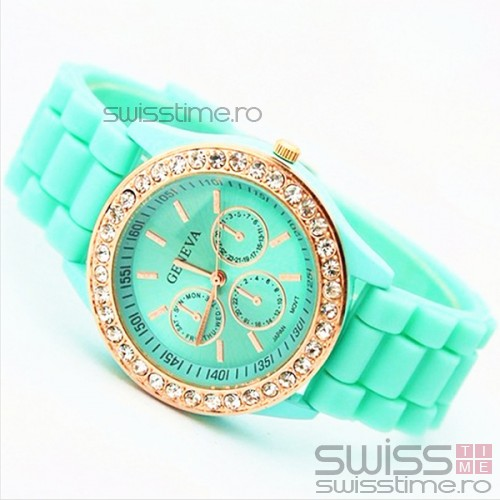 Ceas Dama Quartz Geneva Crystal Joy-verde mint