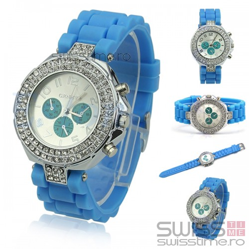 Ceas Dama Quartz Geneva Crystal Select Joy-bleu