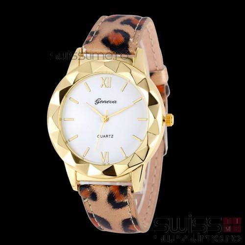Ceas Dama Quartz Geneva Diversity-leopard