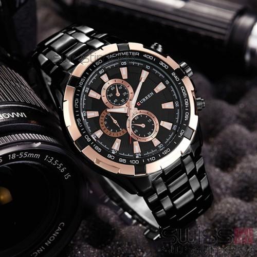 Ceas Quartz Curren SpeedMaster Chronograph-rose gold - negru