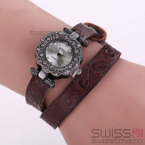 Ceas Dama Quartz Royal Genuine Leather-maro