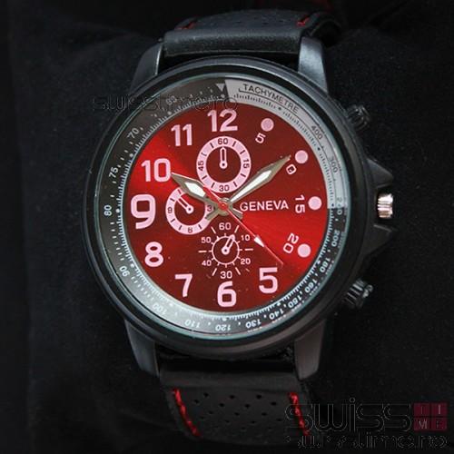 Ceas Quartz Geneva Military Sport -rosu
