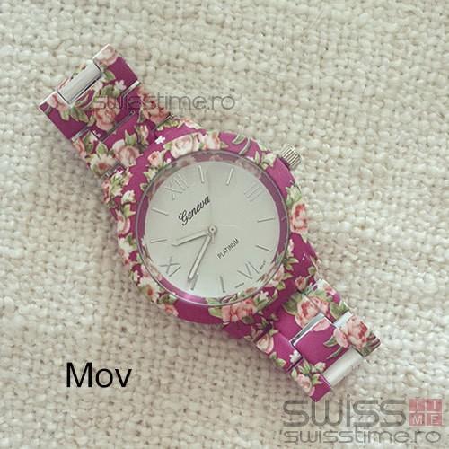 Ceas Dama Quartz Geneva Platinum Blossom-mov