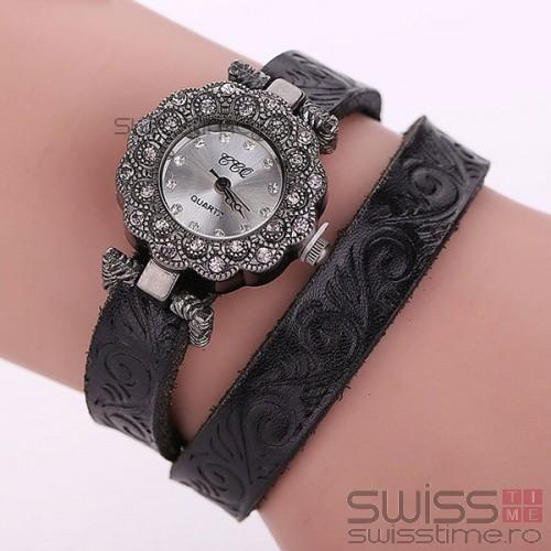 Ceas Dama Quartz Royal Genuine Leather-negru
