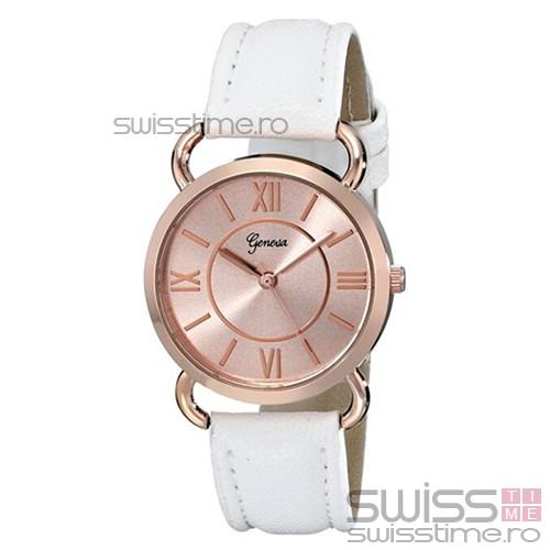 Ceas Dama Quartz Geneva Desire Luxury-rose gold - alb