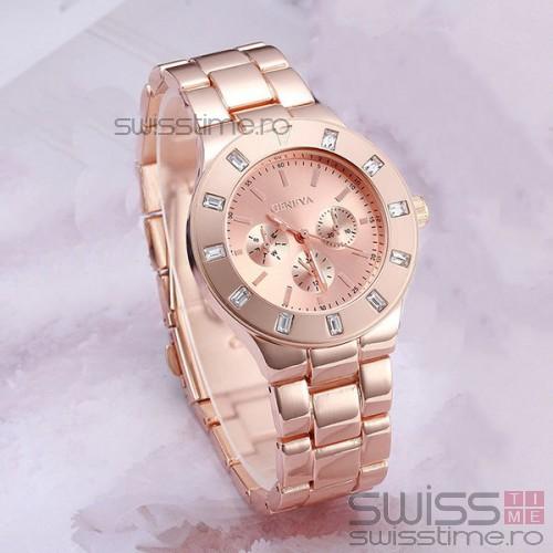 Ceas Dama Quartz Geneva Diamond Deluxe